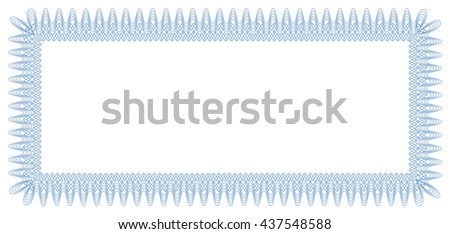 Vector border. Frame. Format: horizontal, in width (DL). Blue. Use for diploma, certificate, voucher, wish cards etc. Eps 10. - stock vector