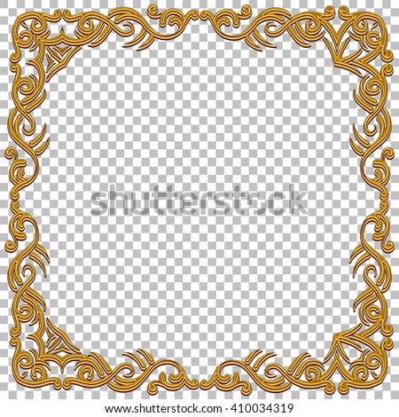 gold frame border png. Vector Border Golden Frame With Gems. Oriental Design. Vintage And Elegant. Can Be Gold Png