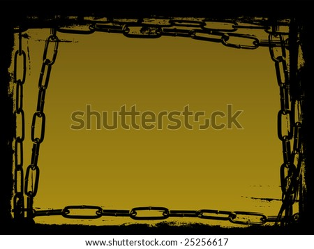 Vector Border Graphic with grunge elements and black chains - stock vector