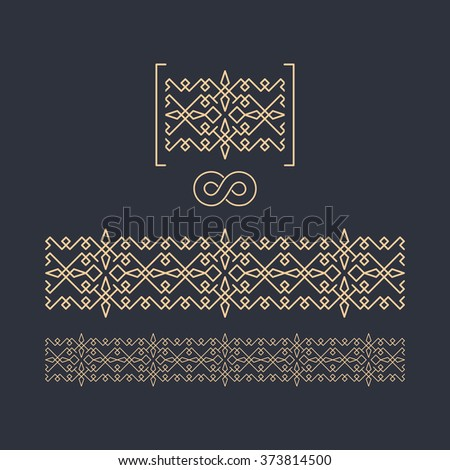 Vector Border. Seamless Pattern. Decorative Element for Design. Geometric border template on dark background. Figured Border. Vector Linear Border for Invitation, Card, Certificate.  - stock vector