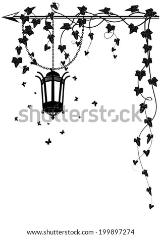 vector border with street lamp, butterflies and ivy for corner design - stock vector