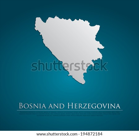 vector Bosnia and Herzegovina Map card paper on blue background, high detailed - stock vector