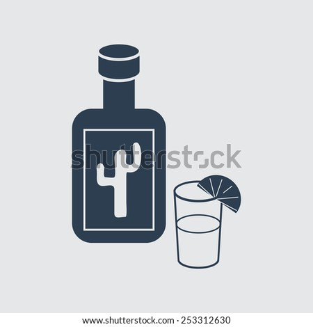 Vector bottle and glass. Format eps 10. - stock vector