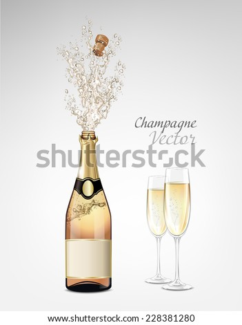Vector bottle of Champagne explosion and glasses - stock vector