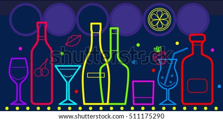 Vector bottles of alcohol and glasses isolated. Neon bright colorful outlines on dark background. Banner, flyer for bar, restaurant, cafe, pub, disco, wine card, menu, map.