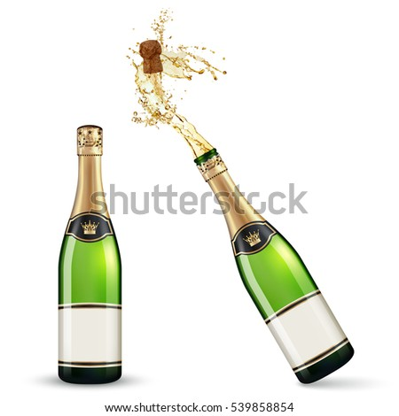 Vector bottles of Champagne