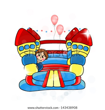 Vector bouncy castle -  children's entertainment - stock vector