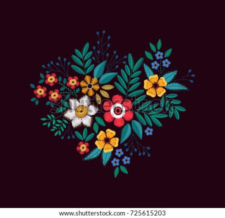 Vector Bouquet of flowers. Imitation of embroidery. Floral ornament on a black background.  Colorful flowers.