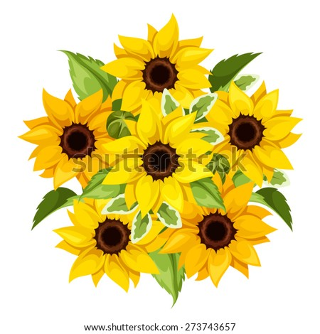 Vector Bouquet Of Orange And Yellow Sunflowers Isolated On A White Background