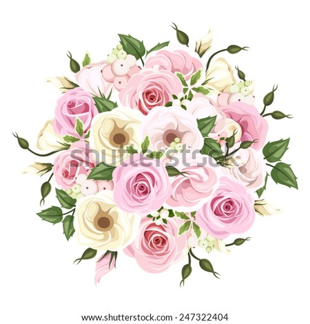 vector bouquet of pink and white roses and lisianthus flowers and green leaves