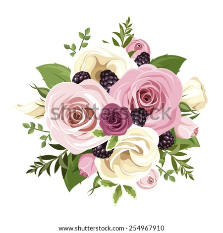 Vector bouquet of pink and white roses and lisianthus flowers, blackberries and green leaves isolated on a white background. - stock vector