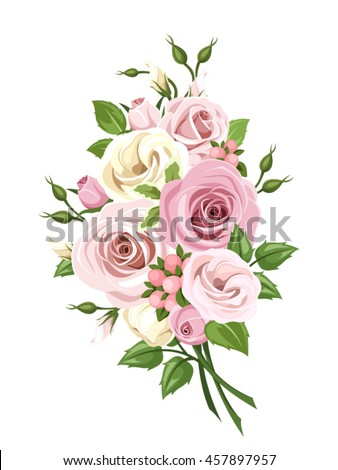 Vector bouquet of pink and white roses and lisianthus flowers isolated on a white background.
