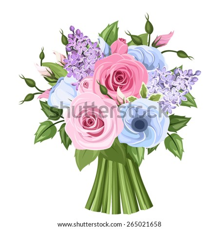 Vector bouquet of pink, blue and purple roses, lisianthus and lilac flowers and green leaves. - stock vector