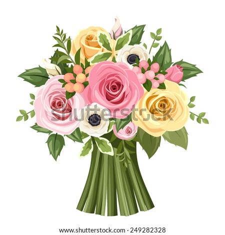 Vector bouquet of pink, yellow and white roses and anemone flowers and green leaves. - stock vector