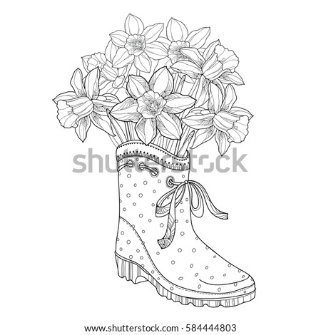 vector bouquet with outline narcissus or daffodil flower in the rubber boot isolated on white background