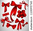 Vector bow collection/ Red - stock vector