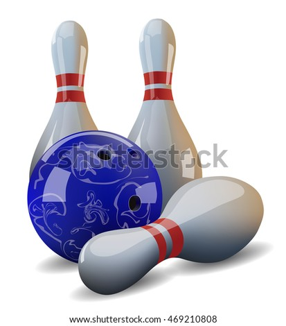 Vector bowling ball and three pins