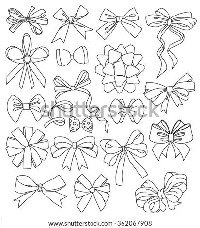 Vector bows and ribbons. Line style.  - stock vector