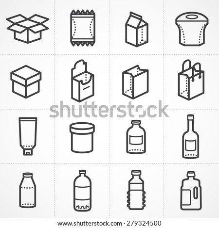 Vector box and bottle package icon set - stock vector