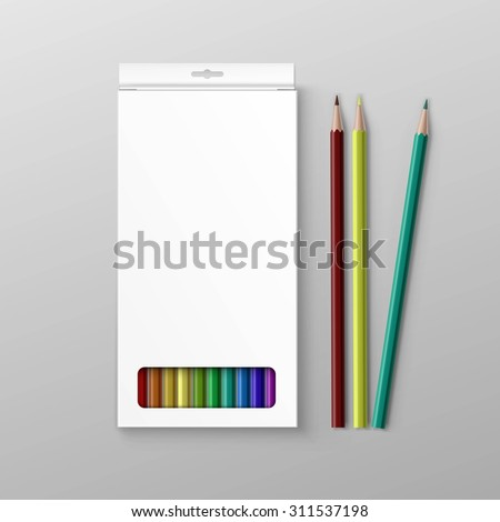 Vector Box of Colored Pencils Isolated on Background - stock vector