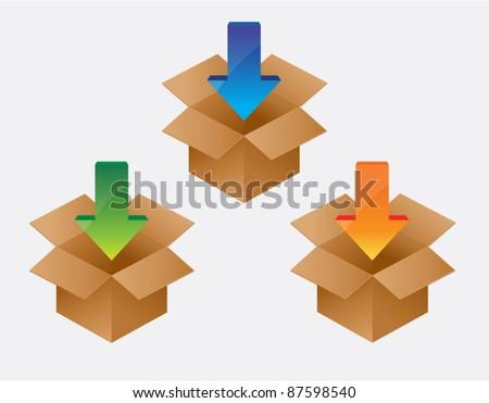 Vector Box with arrow download icon - stock vector