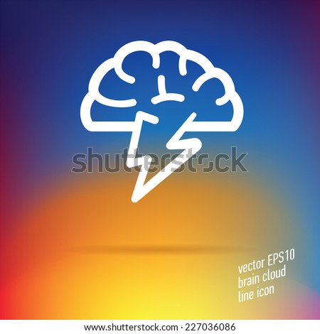 Vector Brain Cloud Thin Line Icon With Nice Details On Smooth Gradient Mesh  Background. Useful