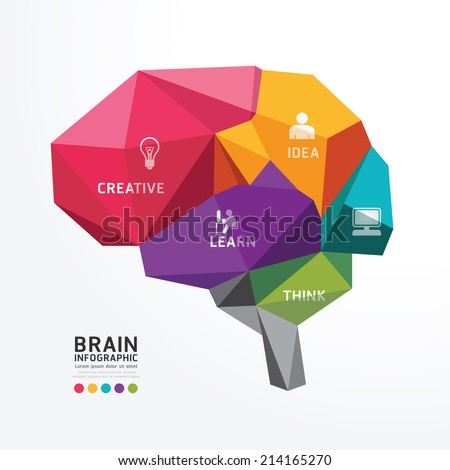 Vector Brain Design Conceptual Polygon Style,Abstract vector Illustration - stock vector