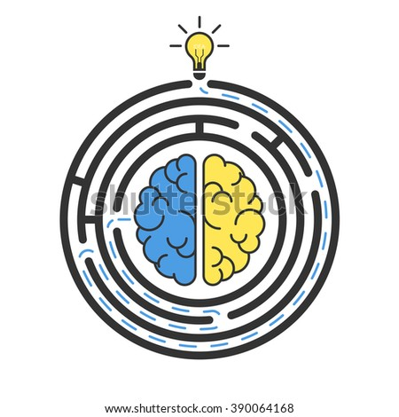 Vector brain in maze, solution, idea, problem thinking, personal labyrinth. Round labyrinth. Business concept, Solving problem. Isolated on white background - stock vector