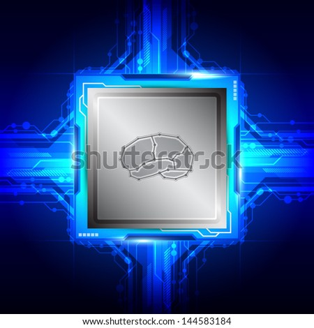 vector brain intelligent on computer processor, electric technology - stock vector