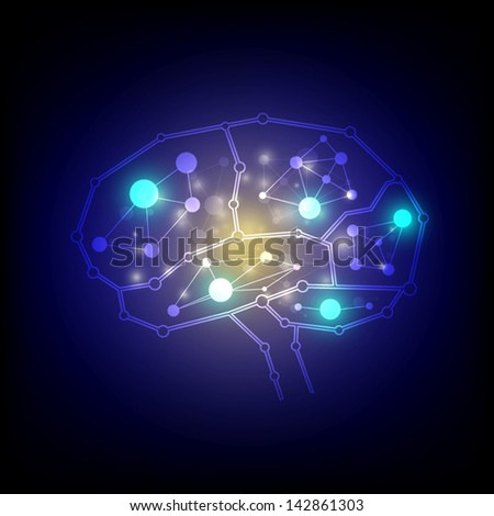 vector brain intelligent, science technology background