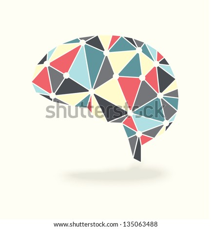 Vector Brain Showing Synapses Activity in Retro Colors - stock vector