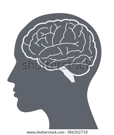 Vector brain silhouette illustration with woman face profile. - stock vector