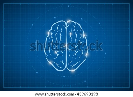 Vector brain symbol on blueprint. - stock vector