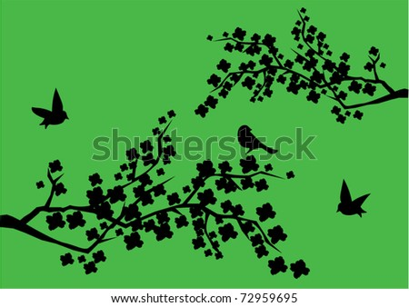 vector branches with black birds and flowers - stock vector