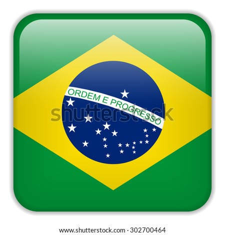 Vector - Brazil Flag Smartphone Application Square Buttons