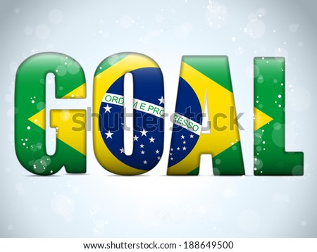 Vector - Brazil Goal Soccer 2014 Letters with Brazilian Flag - stock vector