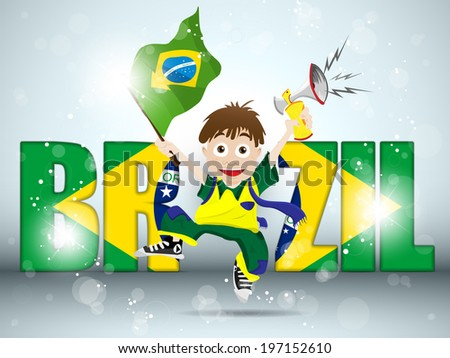 Vector - Brazil Sport Fan with Flag and Horn - stock vector