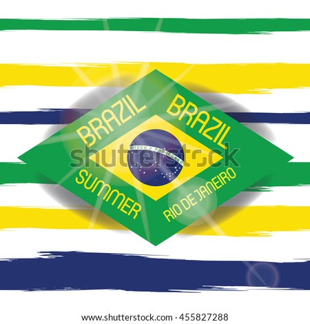 Vector Brazil Summer 2016 Sport Games Rio de Janeiro brazilian flag colors background with Typographic  Abstract  Waves and Sun Flare - stock vector