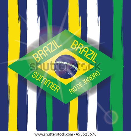 Vector Brazil World Cup Summer 2016 Sport Games Rio de Janeiro brazilian flag colors background with Typographic  Abstract  Stripes and Sun Flare - stock vector
