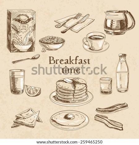 Vector breakfast hand drawn set. Vintage illustration.  - stock vector
