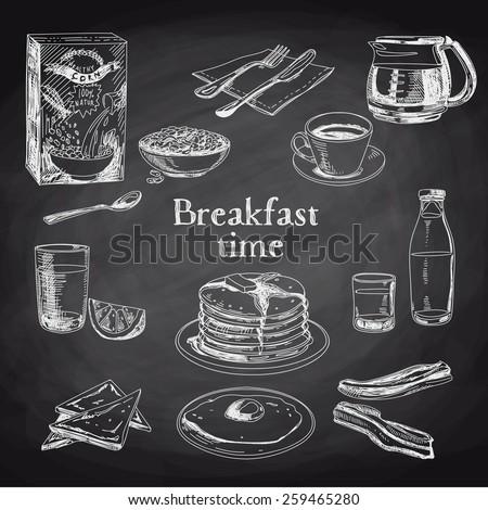 Vector breakfast hand drawn set. Vintage illustration. Chalkboard. - stock vector