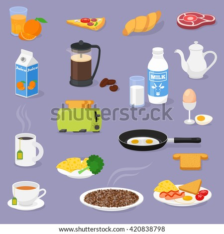 Vector breakfast time illustration with fresh food and drinks. Vector icons set.  - stock vector
