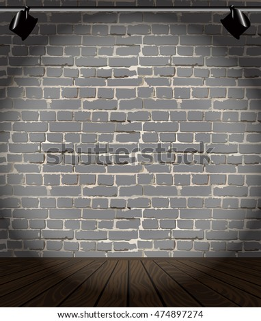 vector brick wall and wooden floor with light. Interior design. Template for business presentation, corporate identity. Color of bricks and floor can be changed. Digital graphic illustration clip art
