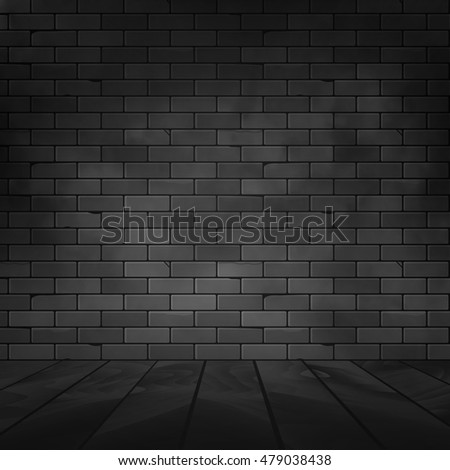 Vector brick wall design template. Old dark wall texture with floor background.