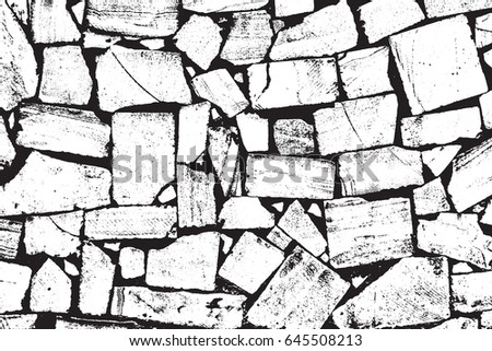 Vector Bricks And Stones Texture Abstract Background Old Stone Wall Overlay Illustration Over