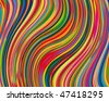 Vector bright and colorful background made of curved stripes - stock vector