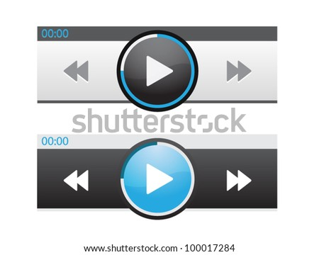 Vector bright audio player skin with navigation bar - stock vector