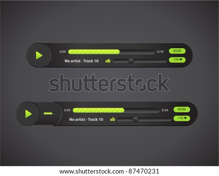 Vector bright audio player with control navigation panel - stock vector