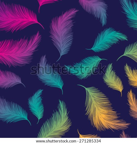Vector bright background with colorful feathers - stock vector