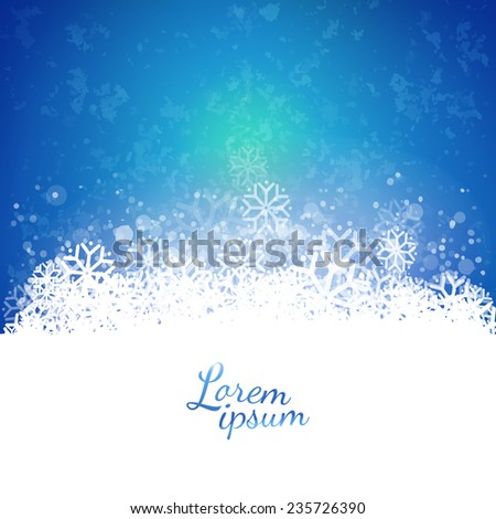 Vector bright  background with snowflakes. Abstract sky illustration. Seasonal and holidays banner design. - stock vector